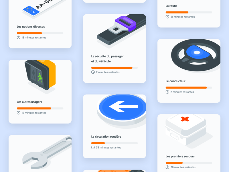 Class Cards drive traffic regulations class driving car traffic signs seat belt card design cards card ui kit isometric design illustration product design app design ui interface design ui design
