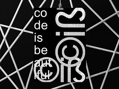 CIB-CodeIsBeautiful poster code typography minimal logo