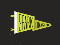 Spark Change // Pennant typography flag illustration pennant