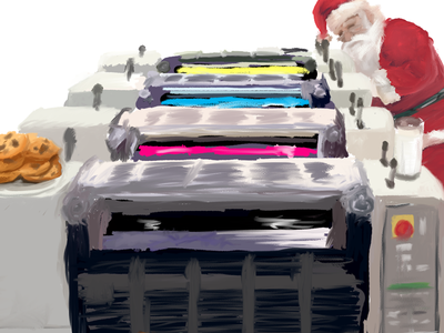 Santa's Print Shop digital painting offset process 4-color milk cookies holiday christmas illustration printer press printing