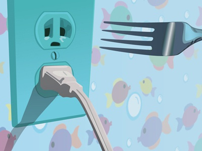 Outlet plug outlet dangerous child illustration illustrator vector digital animated expression warped emotion scared sad