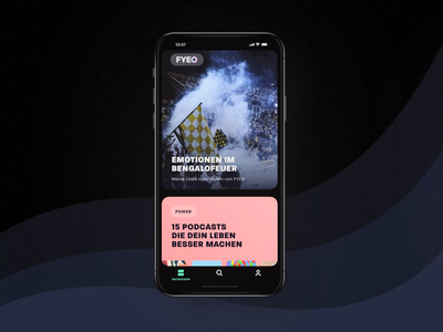FYEO App – For Your Ears Only munich ui ux interface cobemunich cobe branding app android ios podcast motion listening experience audiobook audio app audio colorful vibrant colors