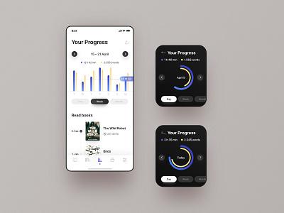 Reading App stats reading reading app progress minimalist design ios diagram graph apple watch apple devices