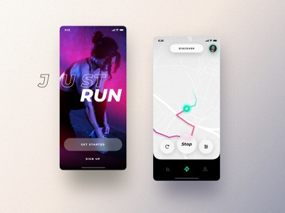 Running App simple discovery running app visual design app minimalist