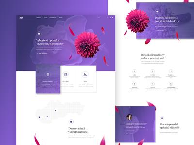 Flowers online store clean modern minimal purple pink flowers website ecommerce eshop