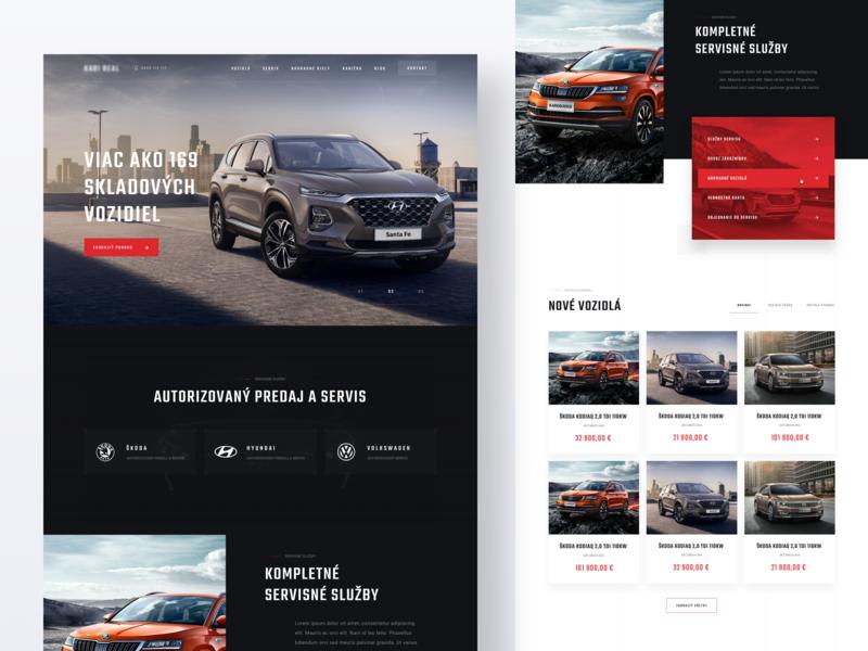 KariReal Slovakia - Homepage cardealer design website modern clean ui ux minimal simple car homepage