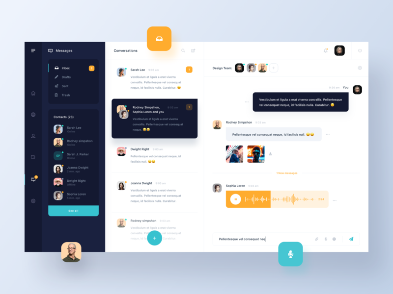 Dashboard - Chat V2 messages chat dashboard simple ux ui modern minimal clean