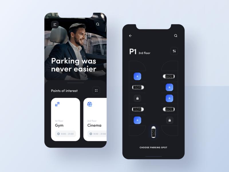 Mobile app - Smart Parking 1 navigation augmentedreality application app car parking smart simple ui modern minimal clean