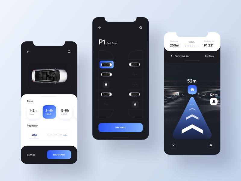 Mobile app - Smart Parking 2 travel application app parking app augmentedreality navigation parking car ui simple modern minimal clean