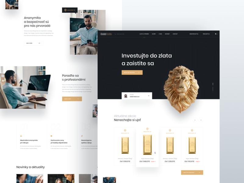 Gold Investment - Homepage V1 business finance investment silver gold homepage ux ui simple modern minimal clean
