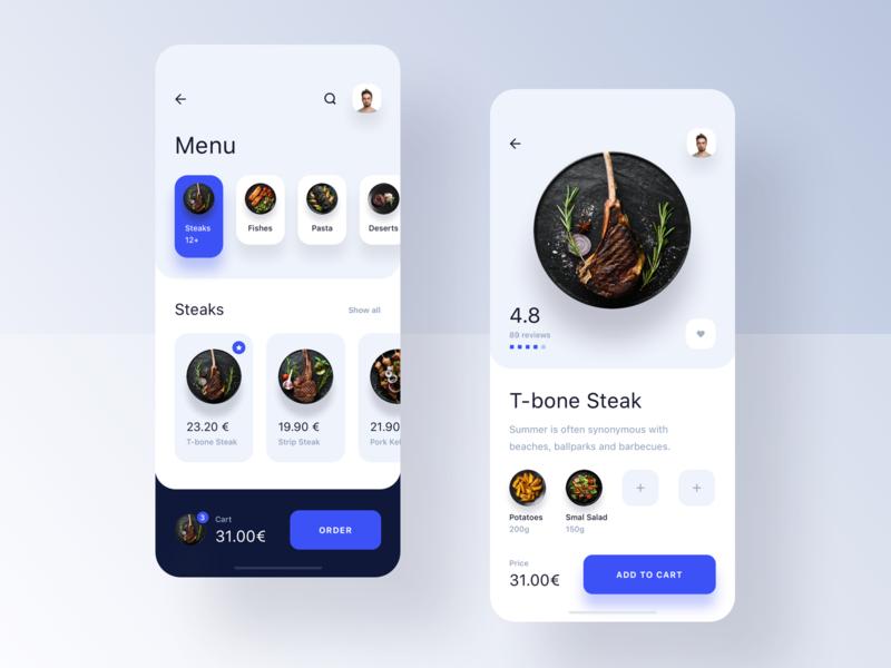 Restaurant App - Order modern simple clean minimal app design meal order restaurant food application
