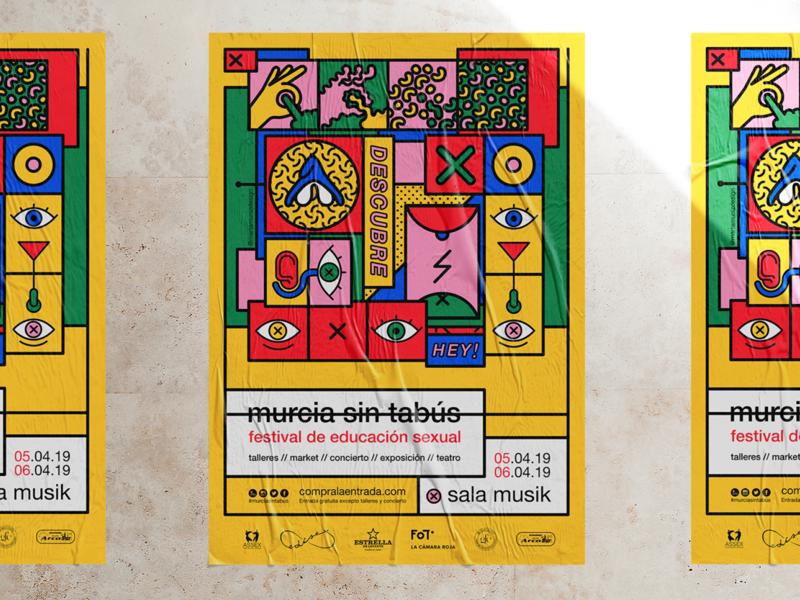 Poster design colorful festival poster festival sexuality illustration design poster vector
