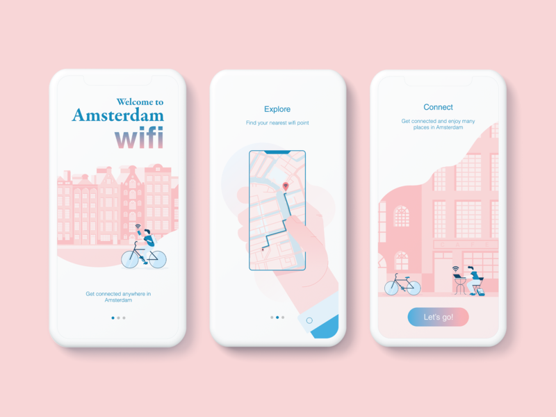 Wifi onboarding map uidesign vector blue red mobile app colors digital illustration onboarding dailyui amsterdam wifi ui illustration design