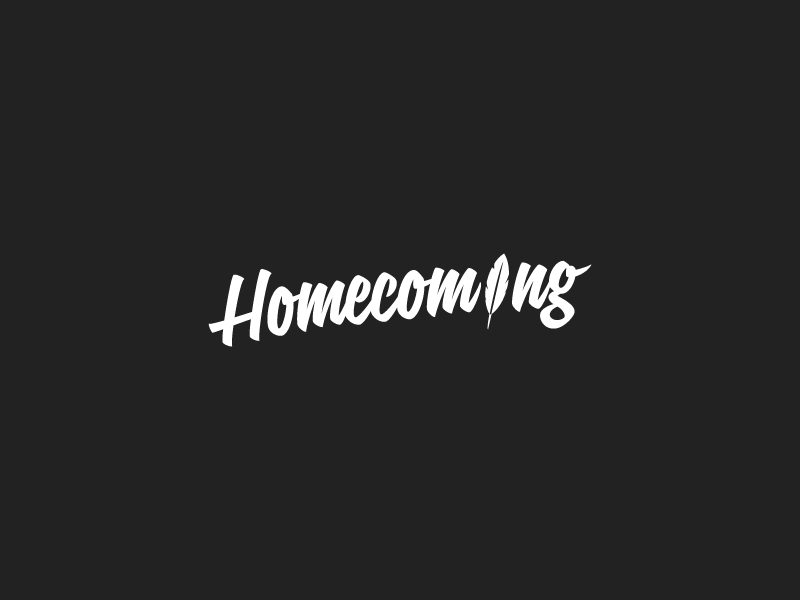 Homecoming Logo logo clean script feather band throwback branding