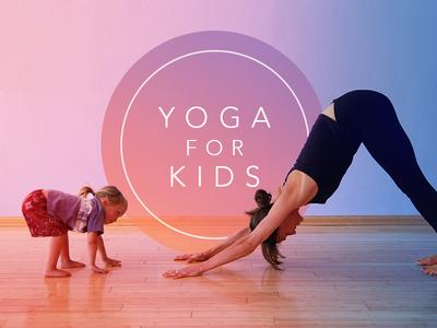 Yoga for Kids Key Art yoga practice kids poster key art circle thin type yoga design hidden type type gradient yoga for kids yoga