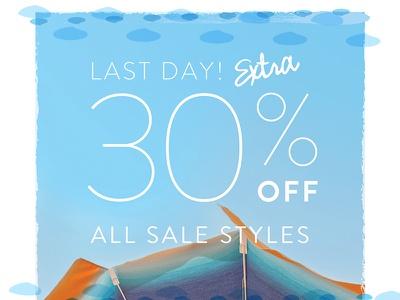 30 Off - Umbrella orange blue umbrella sky texture email design email marketing email beach theme beach