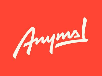 Anymal music record label logo brush script logotype wordmark logo slanted script brush lettering wordmark
