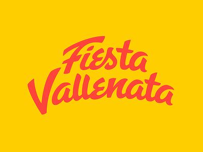 Fiesta Vallenata - Wordmark flat logo flat design flat vector retro traditional music wordmark logo logotype wordmark brush lettering brush script colombian music colombia valledupar vallenato folklore music