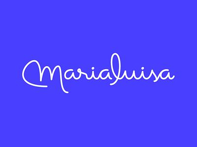 Marialuisa Logo lettering spaghetti cable handwriten script monoline signature feminine wordmark logo cakes bakery