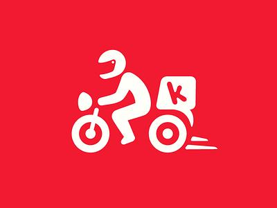 Kokoriko Delivery bike minimalist flat icon pizza helmet motorcycle domicilios delivery delivery service