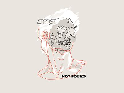 error 404 not found t-shirt tee shirt art design zilux greek 404 virus error glitch skull statue