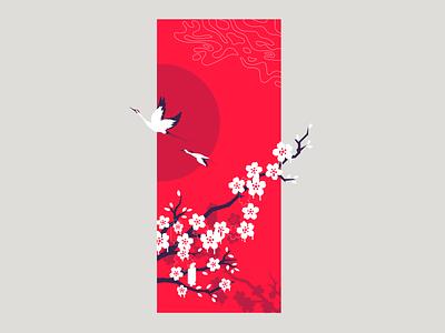 Blossom art flower sun bloom tree japan crain crane cherry blossom blossom cherry zilux