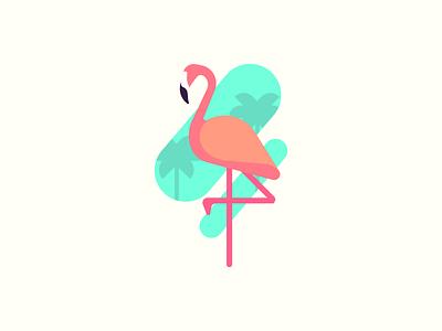 Flamingo tee t-shirt shirt animal colour logo color vector art design zilux tree palmtree palm flaminco pink bird flamingo