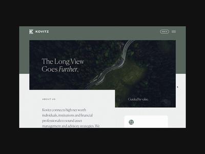 Kovitz About Page & Nav parallax wipe menu navigation animation scroll desktop about web wealth management