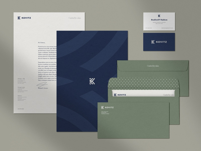Kovitz Business Papers grid pattern diamonds wealth management finance kovitz notepad letterhead business card envelopes business papers branding
