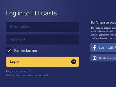 FLLCasts Login login form sign up ui user interface