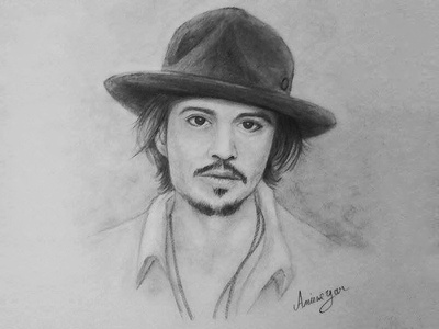 Johnny depp pencil portrait drawing
