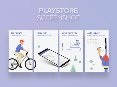 Playstore screenshot for BikeRadar APP bikesharing bike sharing guidescreen vector steps clean section how it works mobile app illustration graphic design characer app playstore