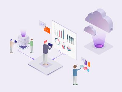 Managed cloud servers illustration
