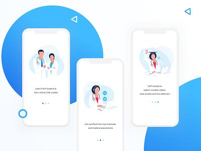 Walkthrough screens -  Medical Learning App education doctor uxdesign design ui learning app medical app app walkthrough illustrations