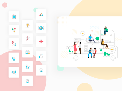 Icons & illustration for energetics teams animation art designer website company profile ux landingpage homepage ui company collaboration team illustration