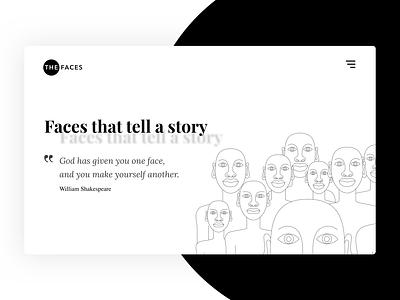 The Faces Hero Concept landingpage theme retro pattern typogaphy ux abstract hero banner hero image homepage vector designer illustration design ui
