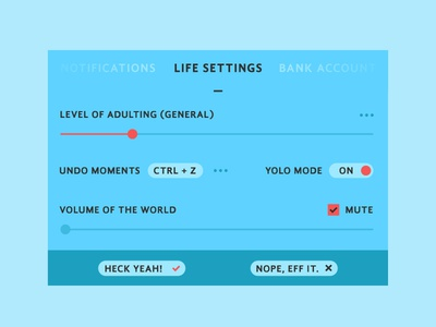 Daily UI - Day 7 slide switch red blue life settings ui daily