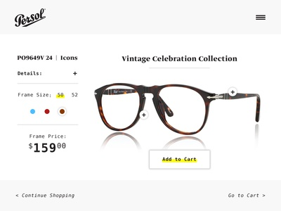 Daily UI - Day 12 glasses persol page item shopping ui daily