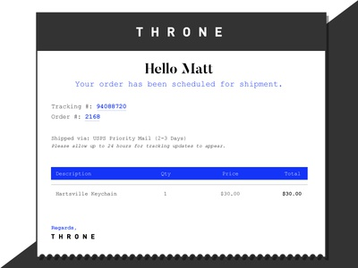 Daily UI - Day 17 mono blue minimal receipt email ui daily