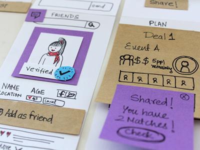Tripogather_Travel App design process iphone app design debut ux ui paper prototype