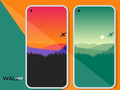 WallRod update graphicdesign playstore minimalist landscape illustration illustrator landscapes minimal wallpapers graphic  design graphic art flat dribbble developer design app android app android