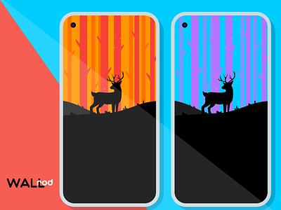WallRod Update forest deer illustraion landscapes dribbble best shot beautiful minimal wallpapers graphic  design graphic art flat dribbble developer design app android app android