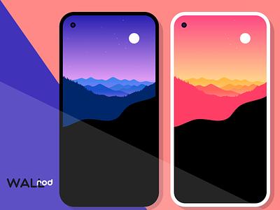 WallRod Update mountain illustraion landscape wallpaper minimal graphic  design graphic art flat dribbble developer design app android app android
