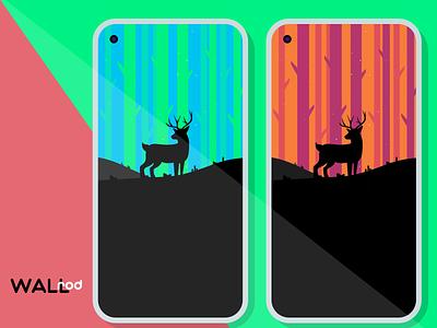 WallRod Update illustraion forest landscape deer minimalist minimal wallpapers graphic  design graphic art flat dribbble developer design app android app android