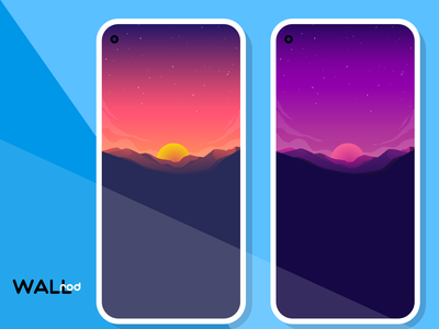 Wallrod Update beautiful landscape mountains sunset minimal illustration wallpapers graphic  design graphic art dribbble developer design app android app android
