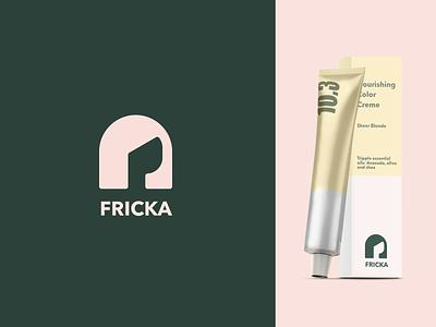 Fricka haircare logo mockup packaging design packaging vector logomark dye hairstyle hair girl branding design brand design brand logos logodesign logo design logo