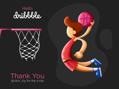 Hello Dribbble design graphic design first shot invite game basketball character illustration debut shot