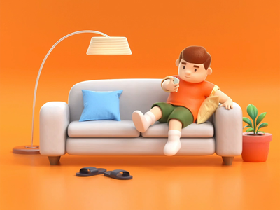 Home body 3d character home design animation illustration