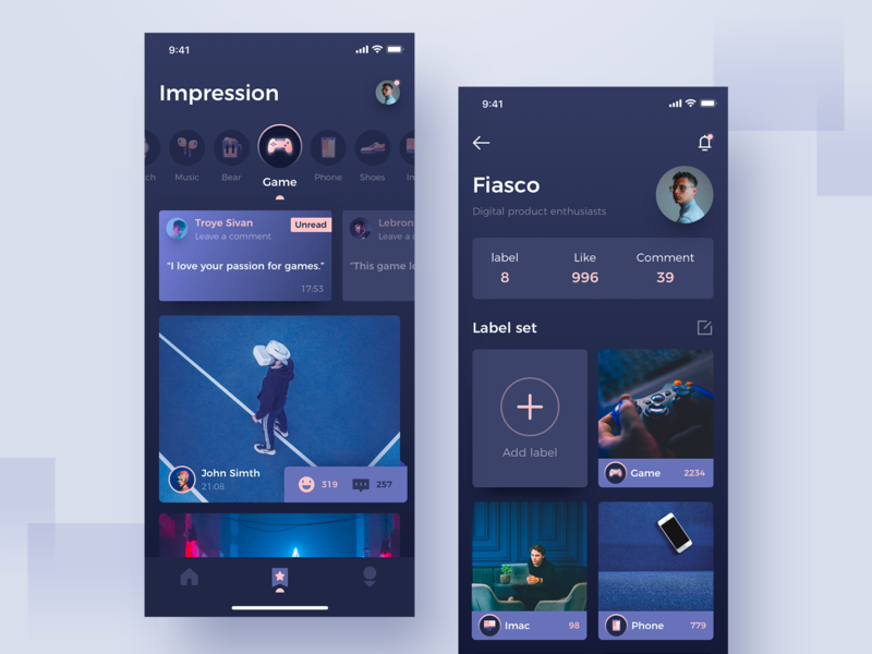 Label photos concept icon blue night interface app ux ui