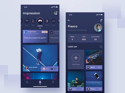 Label photos concept icon blue night interface app ux ui